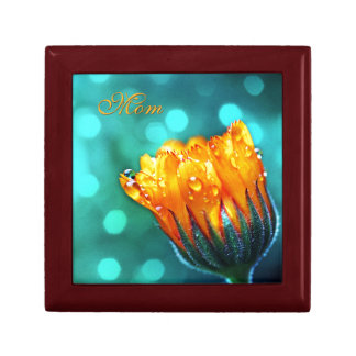 Golden Marigold on Teal Bokeh *Personalize* Gift Box