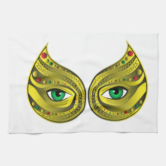 Golden Mask with Green Eyes Kitchen Towel