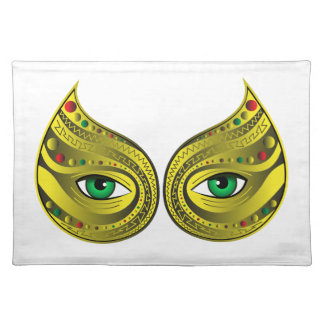 Golden Mask with Green Eyes Placemat