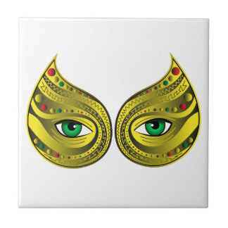 Golden Mask with Green Eyes Tile