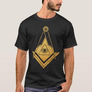 Golden Masonic Symbol eye dark men t-shirt
