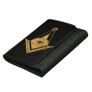 Golden Masonic Symbol eye dark men wallet