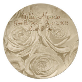 Golden Memories Anniversary Keepsake Plate
