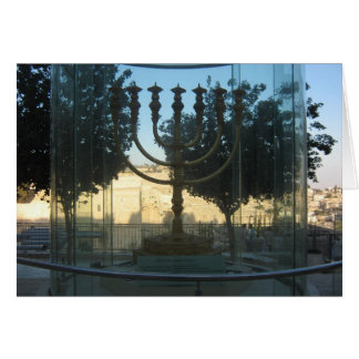 Golden menorah card