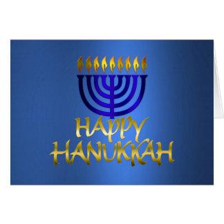 Golden Menorah Flames Happy Hanukkah on Blue Card
