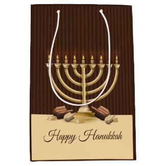 Golden Menorah Hanukkah Medium Gift Bag