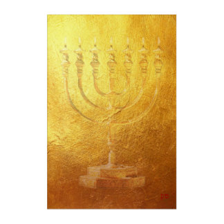 Golden Menorah Jewish Israel Acrylic Wall Art
