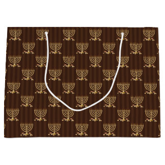 Golden Menorah Vertical Brown Stripes Large Gift Bag