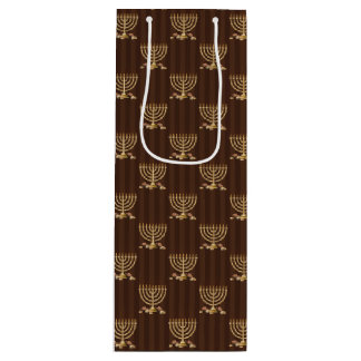 Golden Menorah Vertical Brown Stripes Wine Gift Bag