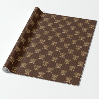 Golden Menorah Vertical Brown Stripes Wrapping Paper