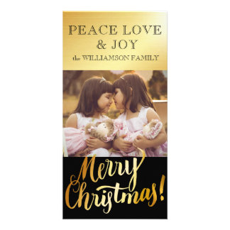 Golden Merry Christmas Family Photo Card