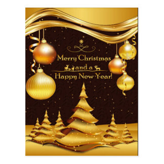 Golden Merry Christmas & Happy New Year Postcard