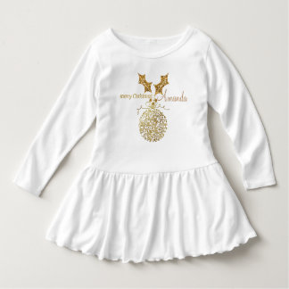 Golden Merry Christmas Ornament Ball & Holly Dress