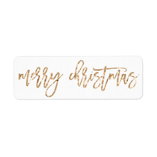 Golden Merry Christmas Return Address Labels