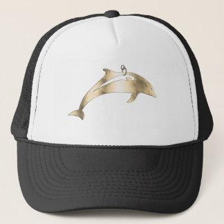 Golden metal dolphin for hanging trucker hat