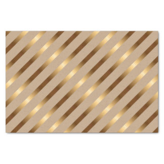 Golden Metallic Diagonal Stripes Tissue Paper