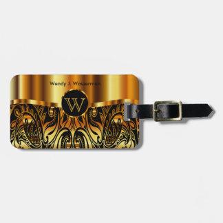 Golden Metallic Paisley Abstract Luggage Tag