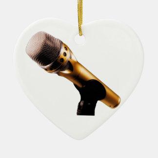 Golden Microphone Ceramic Ornament