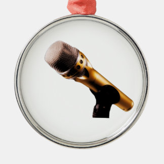 Golden Microphone Metal Ornament