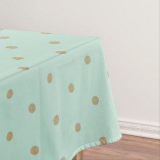 Golden Mint Polka Dot Table Cloth
