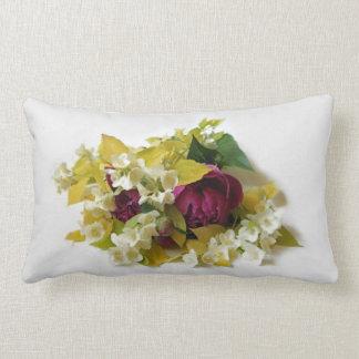 Golden Mock Orange and Pink Peonies Lumbar Pillow