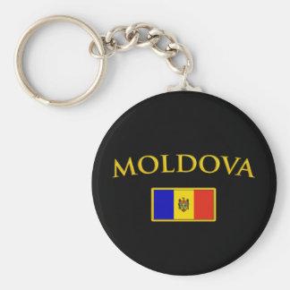 Golden Moldova Basic Round Button Keychain