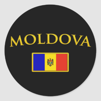 Golden Moldova Round Sticker