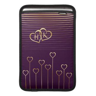 Golden Monogram Hearts Macbook Air Sleeve