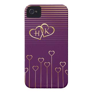 Golden Monogram Hearts Valentine iPhone 4 Case-Mate Cases