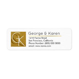 golden monogram ( his + her names & initials) wedd return address label