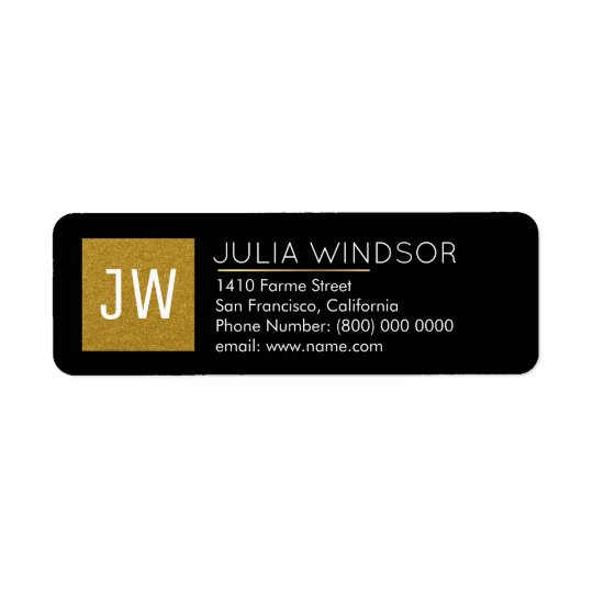 golden monogram (name + initials) black return address label