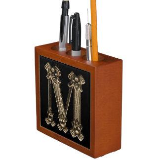 Golden Monogram or Initial Letter M on Black Desk Organizer