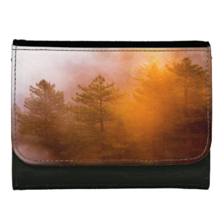Golden Morning Glory Forest Leather Wallet