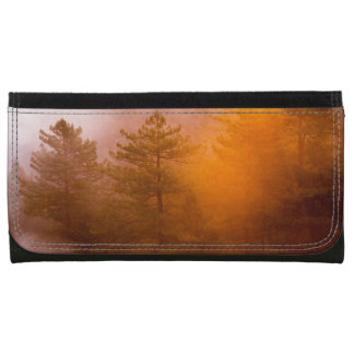 Golden Morning Glory Forest Leather Wallets