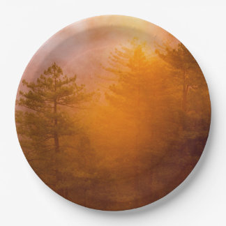Golden Morning Glory Forest Paper Plate