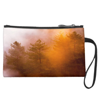 Golden Morning Glory Forest Suede Wristlet