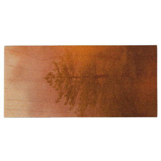 Golden Morning Glory Forest Wood USB Flash Drive