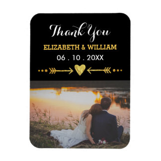 Golden Motif Wedding Magnet Favor Photo Thank You