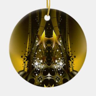 Golden Movie Reels And A Gazillion Stars Round Ceramic Ornament
