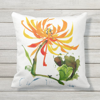 Golden Mum Chinese Brush Watercolor Outdoor Pillow