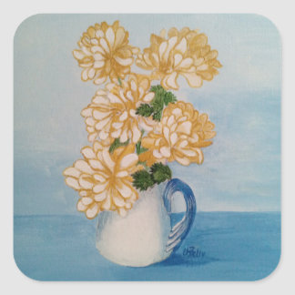 Golden Mums Ina Blue Crackle Cup Square Sticker