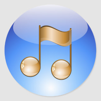 Golden Music Note Round Sticker