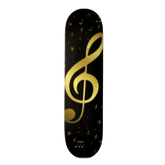 golden music notes in black custom skateboard