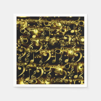 golden music notes pattern paper napkin