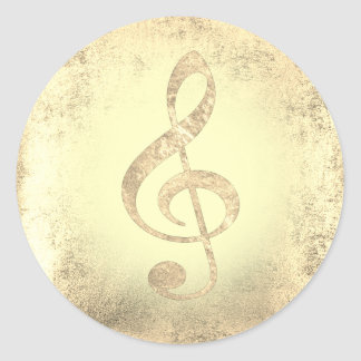 golden music treble clef classic round sticker