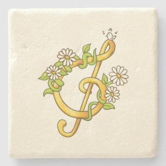 Golden musical note Limestone Coaster Stone Beverage Coaster