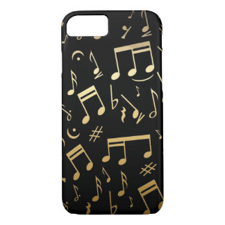 Golden Musical Notes on Black Background iPhone 7 Case