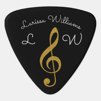 golden musical treble clef personalized black guitar pick