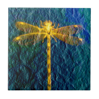 Golden Mythical Dragonfly on Textured Background. Tiles
