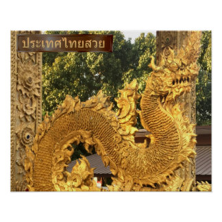 Golden Naga In Chiang Mai Poster